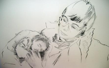 Ana y Andrés, carboncillo sobre papel superalpha, 1x70,2007.