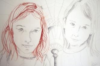 Las dos amigas, sanguina y carboncillo sobre papel alpha, 70 x 100. 2007.