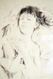 La mujer durmiente, grafito sobre papel alpha, 50x70,2007.