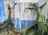 Buganbillas y calas, óleo sobre lienzo, 70 x 1,20. 2003.