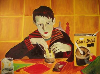 Andrés y el desayuno, óleo sobre lienzo,80x1,20.2007.