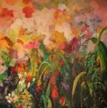 Al atardecer,1x1, óleo sobre lienzo,2010..