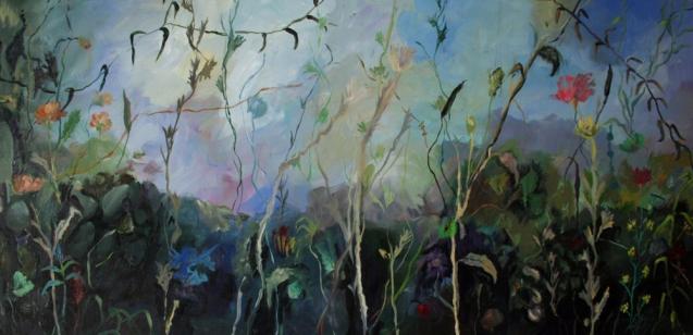 Mientras espero tumbada, mixta sobre lienzo, 2010