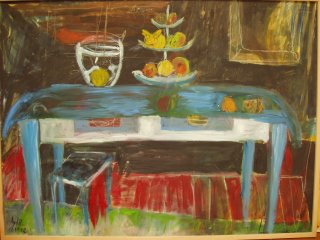 La mesa azul, óleo sobre lienzo,80x1,60. Colección privada.