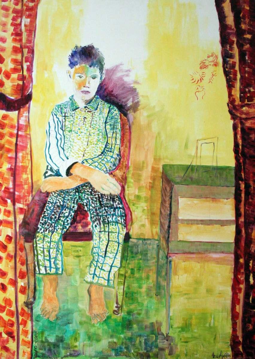 Mateo en pijama, acrílico sobre lienzo, 97 x 1,30. 2012.